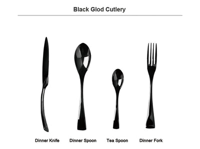24 Piece Black Cutlery Set