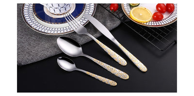 24 Piece Golden Stencil Cutlery Set