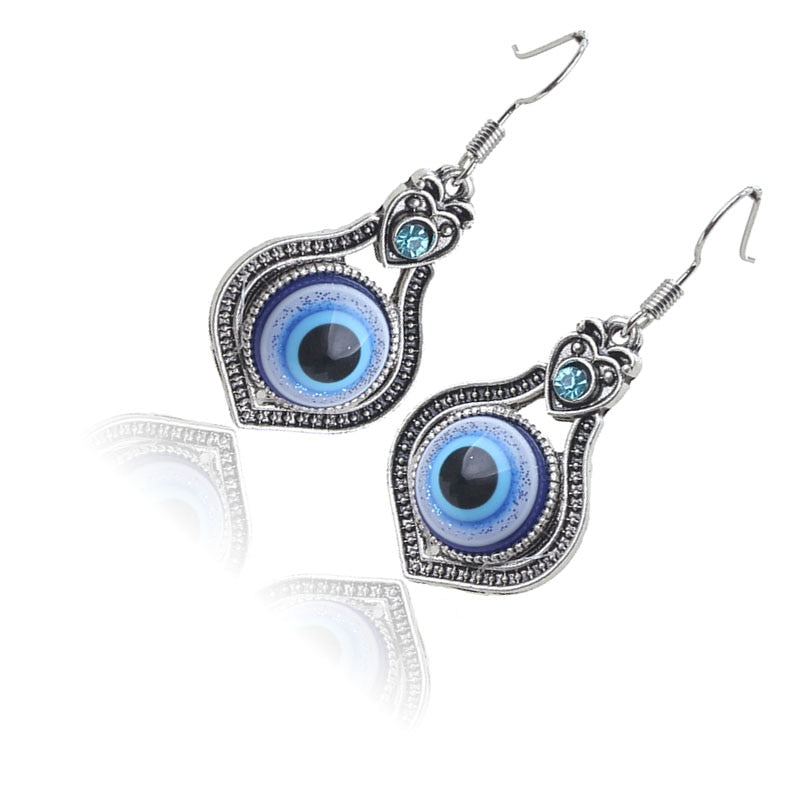 Greek Evil Eye Drop Earrings