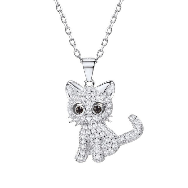 Silver Gold Chain Necklace Dazzling Cat