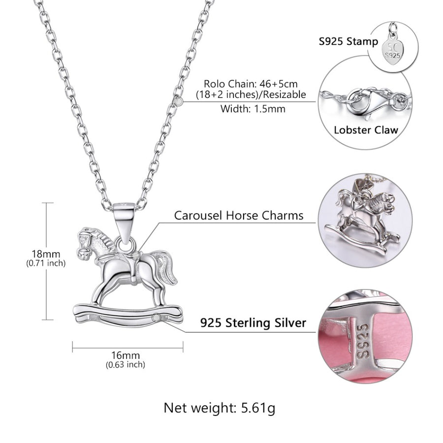 Silver Chain Necklace Rocking Horse