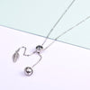 Silver Chain Necklace Long Drop Cat