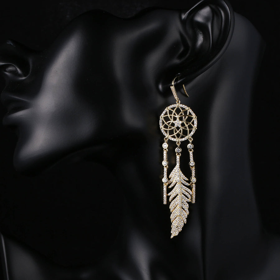 Dream Catcher Gold Earrings