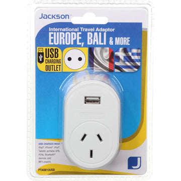Jackson International Travel Adaptor with USB Charging (Europe, Bali & More)