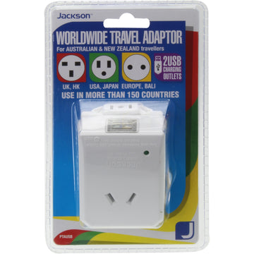 Jackson Worldwide Travel Adaptor with Dual USB Charging