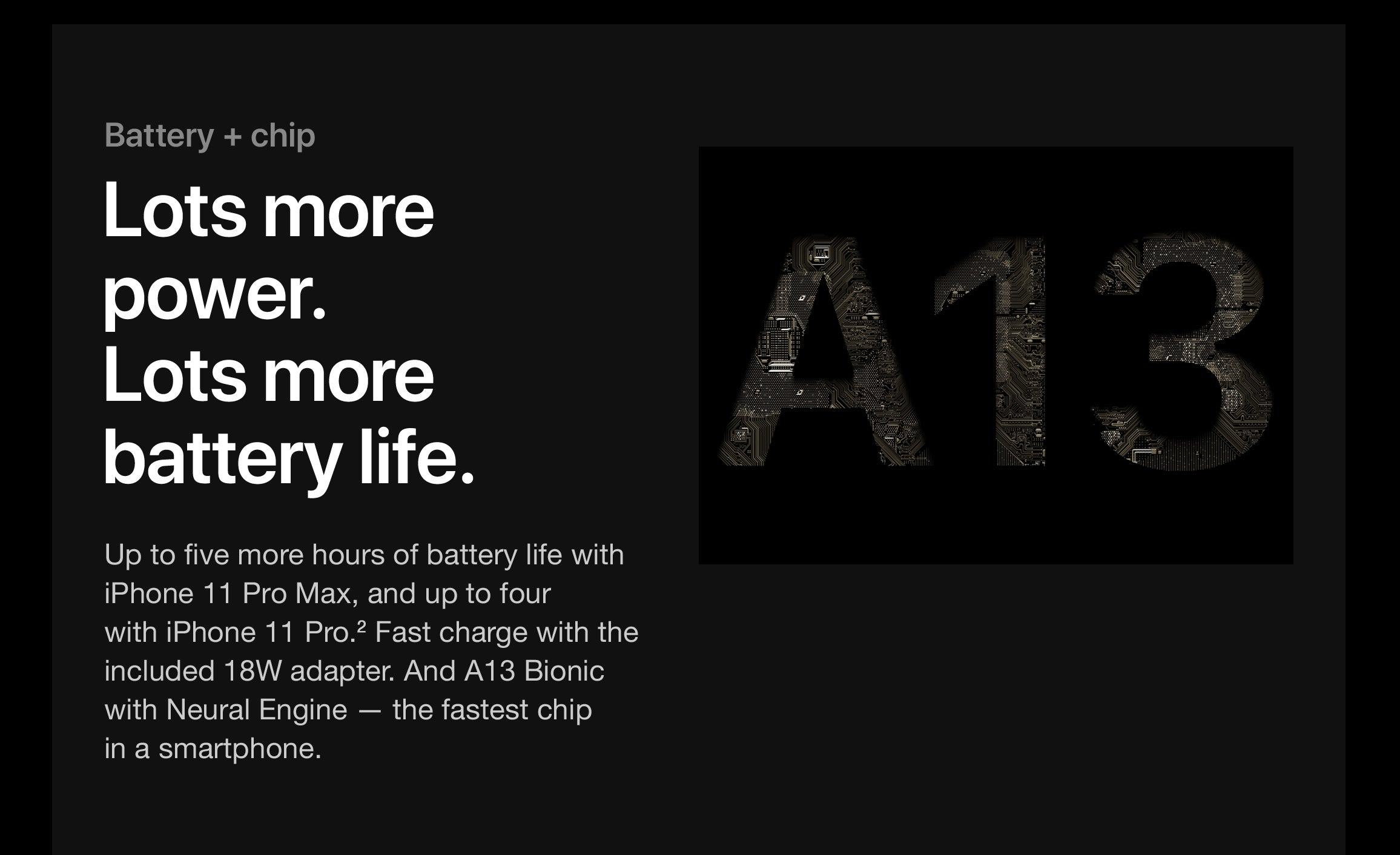 Battery + chip Lots more power. Lots more battery life. Up to five more hours of battery life with iPhone11ProMax, and up to four  with iPhone11Pro.2 Fast charge with the included 18W adapter. And A13 Bionic with Neural Engine — the fastest chip  in a smartphone.