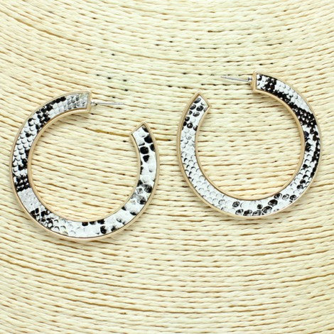 Printed Leather Hoop Earrings