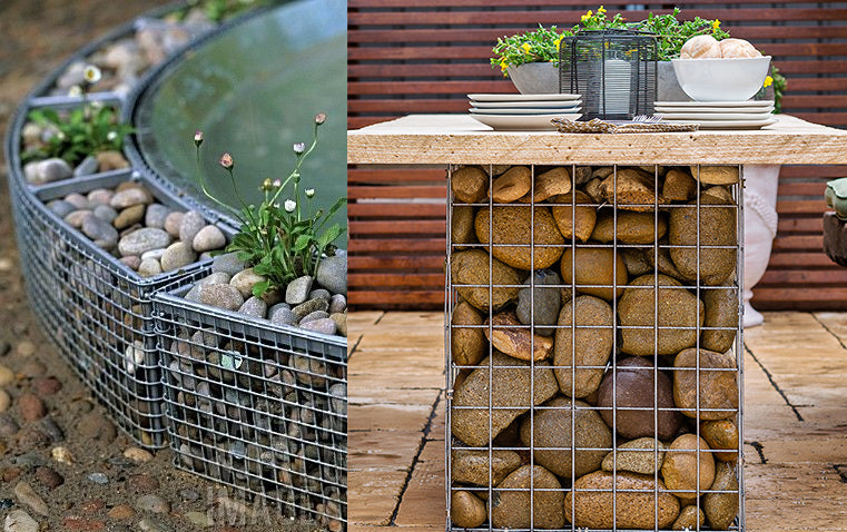 Decorative Pebble Gabion Baskets for indoor and outdoor use. Simplified architectural and engineering ingenuity.