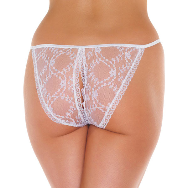 Lace White Crotchless Tanga