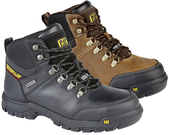 9c0730e4540 Mens Caterpillar Leather Boots Safety Work Ankle Black Waterproof Steel Toe  Shoe