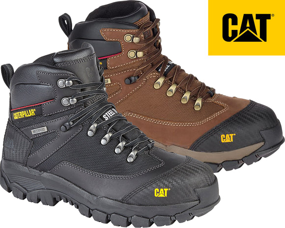 b17cd6222d3 Mens CAT Leather Safety Work Boots Steel Toe   Midsole Mesh Caterpillar Water  Resistant