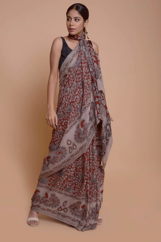 Pure Handloom Kalamkari Cotton Saree by Indian Artizans