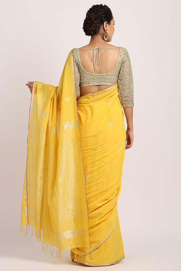 Indian Artizans - Yellow Cotton Khadi Saree