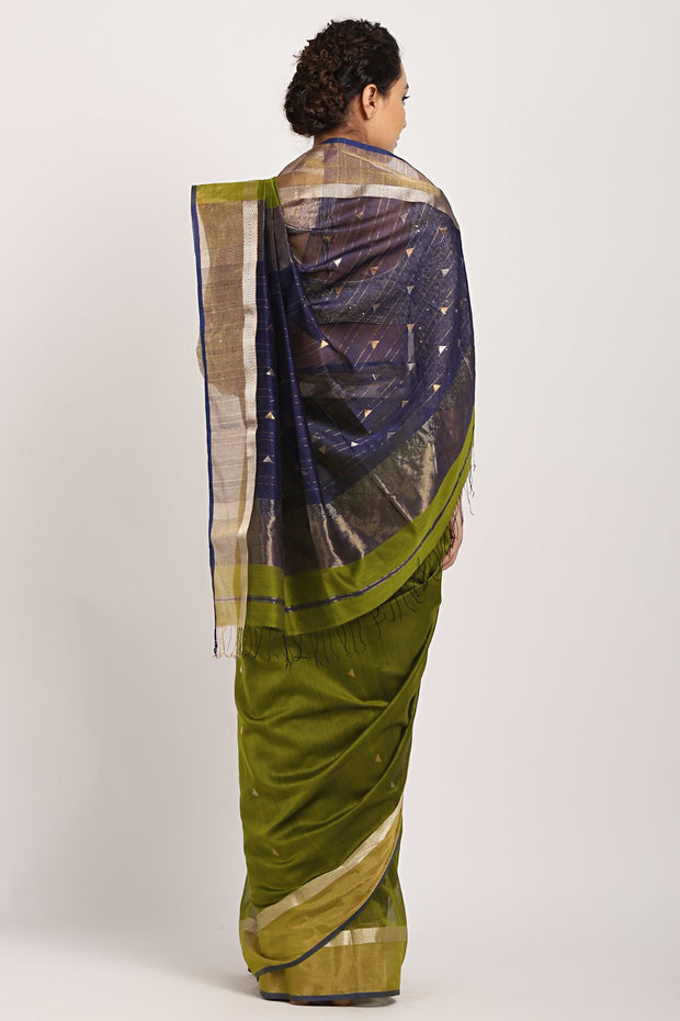 Indian Artizans - Bottle Green Cotton Silk Saree