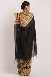Indian Artizans - Black Khadi Tie & Dye Silk Saree