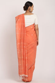 Indian Artizans - Orange Cotton Khadi Saree