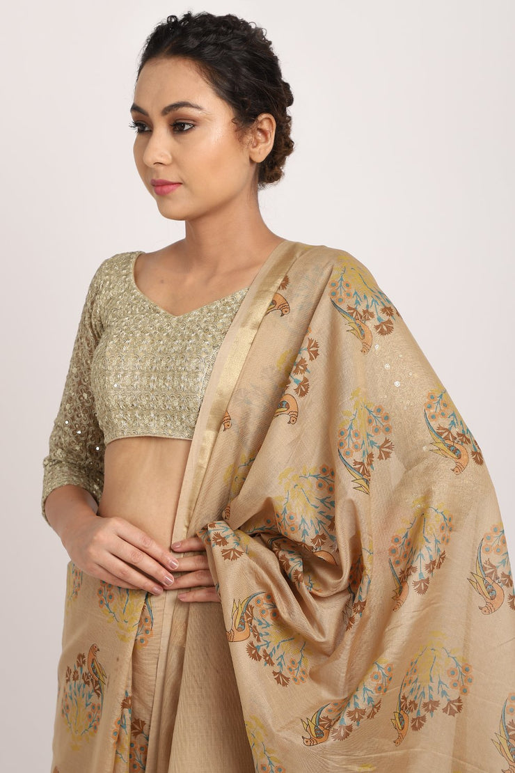 Indian Artizans - Beige Cotton Silk Chanderi Saree