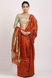Indian Artizans - Rust Cotton Silk Saree