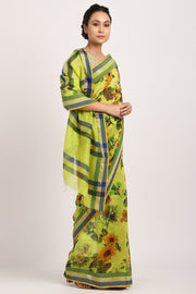Indian Artizans - Parrot Green Cotton Silk Saree