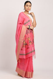 Indian Artizans - Pink Manjusha Handpainted Saree.
