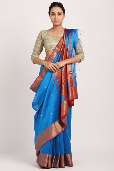 Indian Artizans - Blue Cotton Silk Chanderi Saree