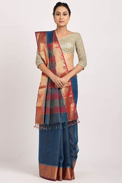 Indian Artizans - Ink Blue Cotton Silk Saree