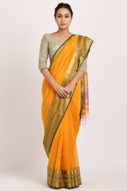 Indian Artizans - Yellow Cotton Silk Saree