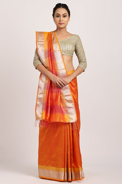 Indian Artizans - Orange Chanderi Saree