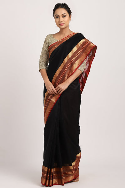Indian Artizans - Black Cotton Silk Chanderi Saree