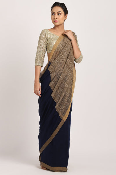 Indian Artizans - Navy Blue Bhagalpuri Silk Saree