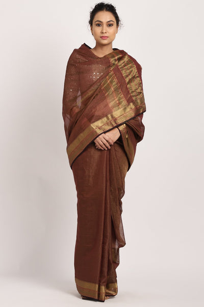 Indian Artizans - Brown Cotton Silk Chanderi Saree