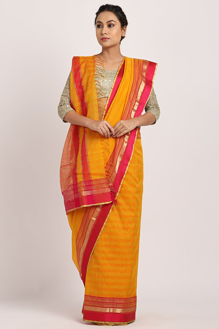 Indian Artizans - Yellow Hand Woven Saree