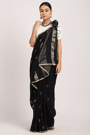 Indian Artizans - Black Cotton Khadi Saree