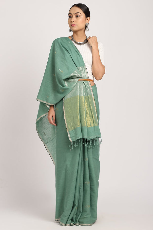 Indian Artizans - Sea Green Khadi Saree