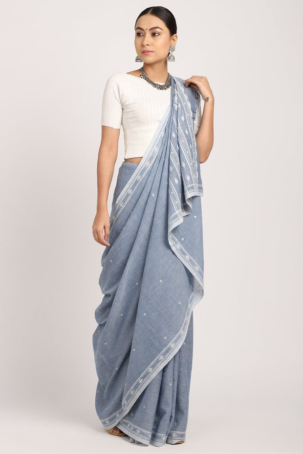 Indian Artizans - Indigo Jamdani Muslin Saree
