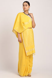 Indian Artizans - Yellow Khadi Cotton Saree