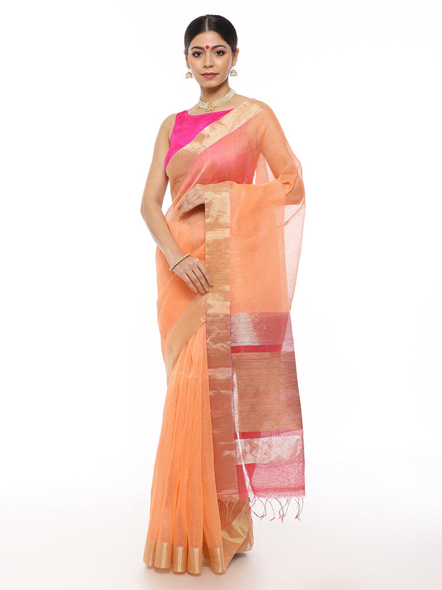 Peach Linen Saree with Carrot Pink Pallu