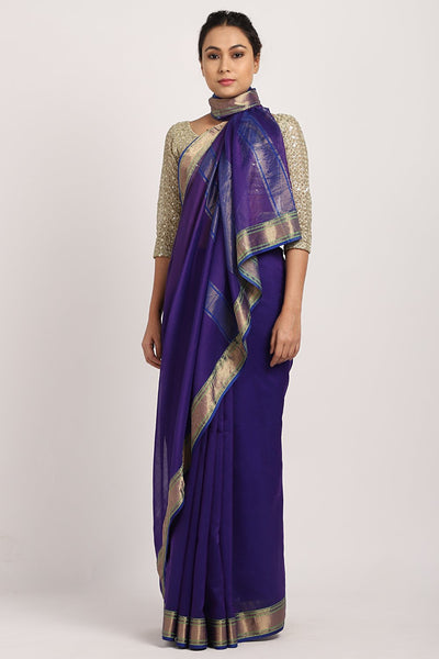 Indian Artizans - Purple Chanderi Saree