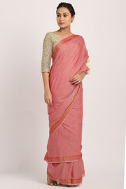 Pastel Pink Handloom Cotton Saree