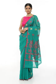 Turquoise Cotton Saree With Pink Flower Motif Pallu