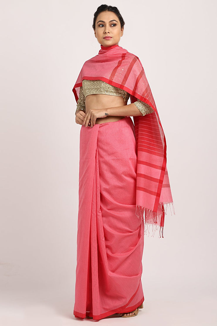 Indian Artizans - Pink Cotton Chanderi Saree