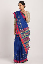 Indian Artizans - Blue Cotton Silk Saree