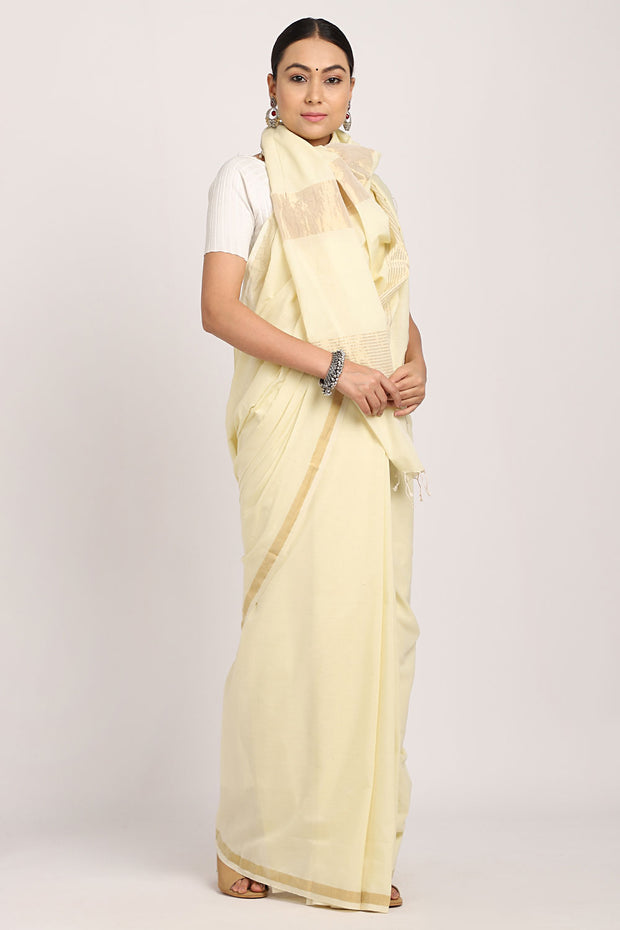 Lemon Yellow Handloom Cotton Saree
