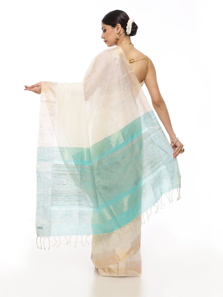 Off White Linen Saree with Blue Pallu