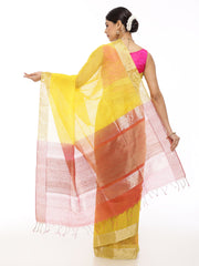 Yellow Linen Saree with Carrot Pink Pallu