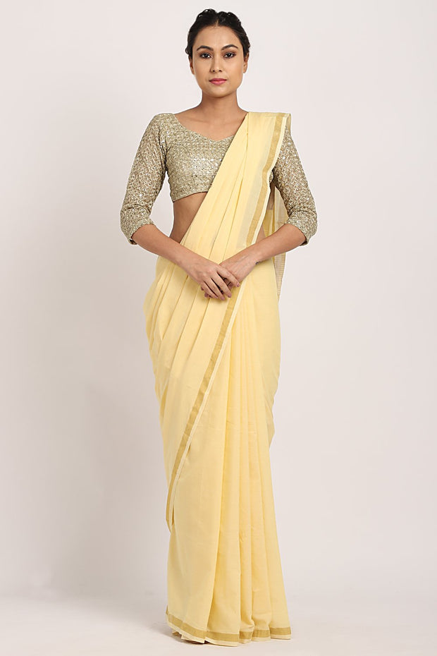Indian Artizans - Pastel Yellow Handloom Cotton Saree