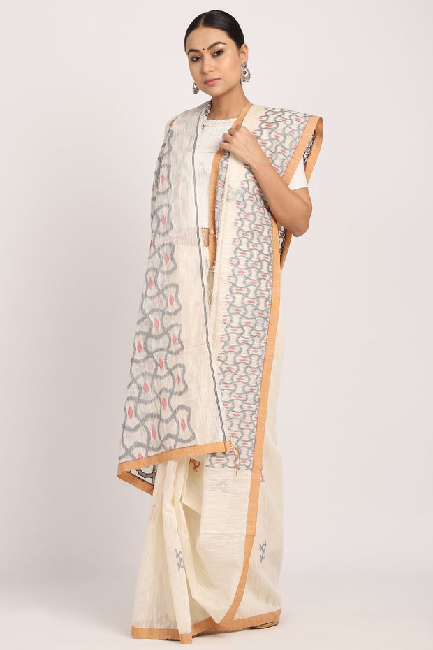 Indian Artizans - Grey Khadi Silk Saree