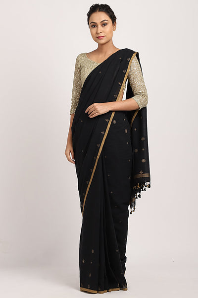 Indian Artizans - Black Tea Dye & Block Sujani Saree