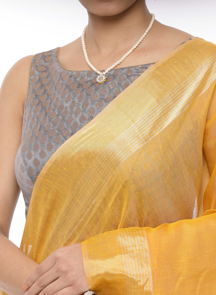Yellow Linen Saree with Blue Pallu