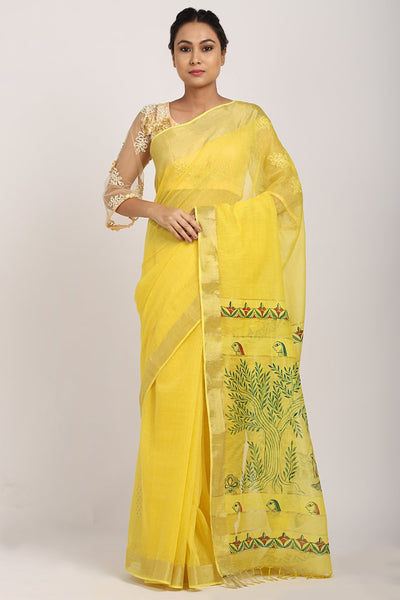 Indian Artizans - Yellow Manjusha Handpainted Saree
